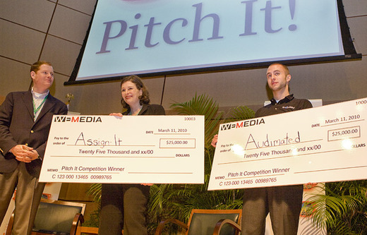 PitchIt! Award Winners Melinda Whittstock and Lucas Sommer with presenter Bob Ross, President and CEO Ethics and Excellence in Journalism Foundation. Photo by Chelsea Matiash