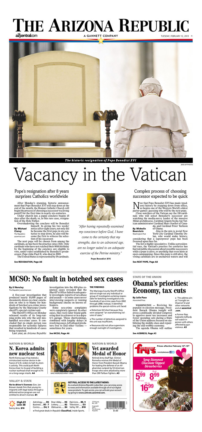 Arizona Republic Front Page Feb. 12, 2013