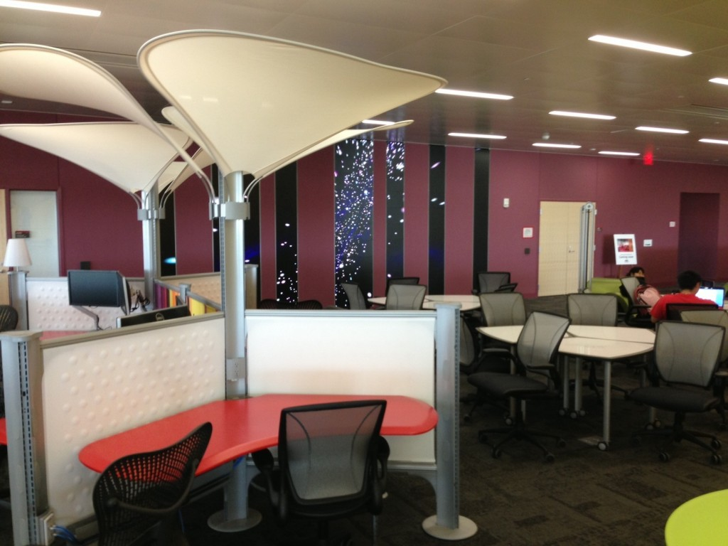 One of dozens of collaboration spaces with video walls.