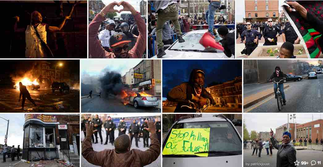 "A sampling of photos uploaded to Flickr and tagged ""Baltimore"" and ""blacklivesmatter"""